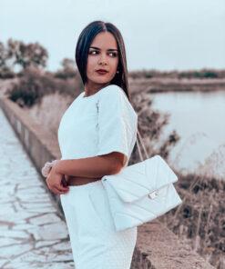 Καπιτονέ Τσάντα Ώμου Λευκή